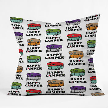 Andi Bird Happy Camper White Throw Pillow