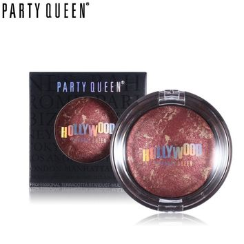 Party Queen 14g Cheek Makeup Shimmer Baked Bronzer Blush Palette Makeup Silky Smooth Mineral Natural Cheek Color Bronzer Blusher