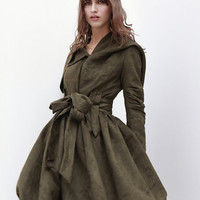 Army Green Hooded Jacket Fluffy Faux Suede Leather Hoodie Autumn Coat long sleeves custom Women Tunic - NC436