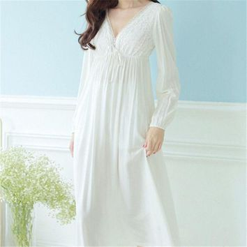 DKF4S Autumn Vintage Nightgowns V-neck Ladies Dresses Princess White Sexy Sleepwear Solid Lace Home Dress Comfortable Nightdress #H13