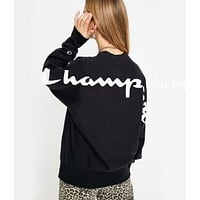 Champion Popular Women Men Casual Print Round Collar Velvet Sweater Top Sweatshirt Black