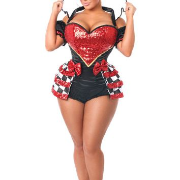 Top Drawer 6 PC Premium Royal Red Queen Corset Costume