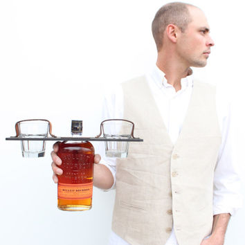 Personalized Groomsmen's Gift Whiskey Bottle + Glass Carrier Set (glasses included)