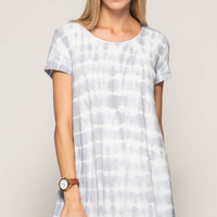 Women's Blue Grey Short Sleeve Striped Tie Dye Swing Dress