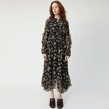 2019 Spring 4/5 Long Sleeve Crew Neck Floral Print With Ribbon Tie-Bow Chiffon Mid-Calf Length Dress Luxury Runway Dresses M2714A