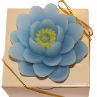 Glycerin Soap Blue Water Lilly Lotus Flower Scented in Gift Box