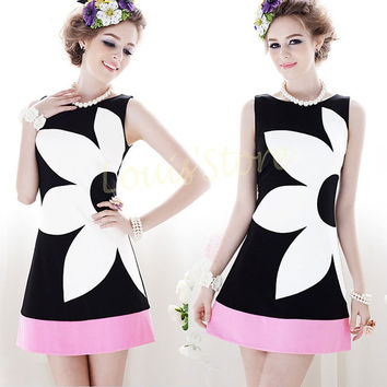 Women's Black and White Rose with Pink Contrast Mini Skirt
