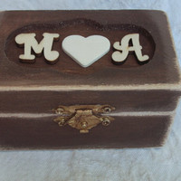 Autumn Fall Brown Aged Rustic Personalized Initials and Heart Wedding Ring Bearer Pillow Box