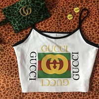 GUCCI Summer Popular Women Retro Dragonfly Letters Print Sleeveless Vest Crop Top White I12950-1