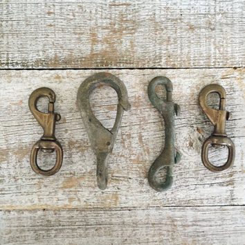 Snap Hooks 4 Brass Snap Hooks Swivel Snap Hooks Swivel Clips Double Ended Snap Hook Large Snap Hook Galvanized Metal Hook Nautical Hooks