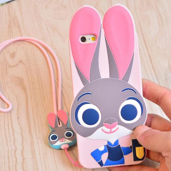 Case + Strap, ZOOTOPIA Rabbit Judy Fox Nick Silicone 3D Cover For iPhone 5S SE 6 6s 7 Plus Lovely Cute Animal Phone Accessories