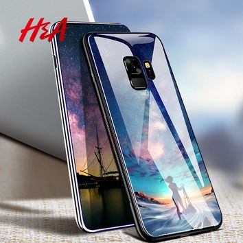 H&A For Samsung Galaxy S8 S9 Plus Back Cover Case Star Tempered Glass Phone Cases for Galaxy S9 Note 9 8 Case Coque Capa Fundas