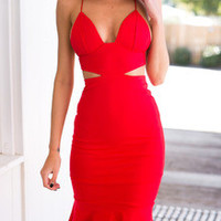 Red Spaghetti Strap Backless Cut Out Dress