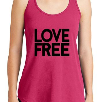 Women's Love Free Graphic New Era Heritage Blend Racerback Tank Tops for Regular and Plus - XS ~ 4XL