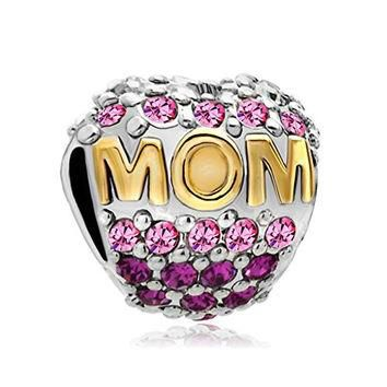 Sterling Silver Heart Mom Mother Pink Birthstone Crystal Charm Beads Jewelry Fit Pando