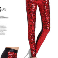 New 2014 women fashion sequins decoration backside black faux leather patchwork ladies skinny high waist leggings 5 colors