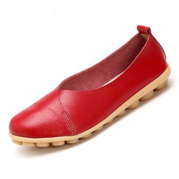 Handmade Leather Women plus size Sewing Flats Moccasins Loafers ballet flats women Comfortable soft Casual Shoes