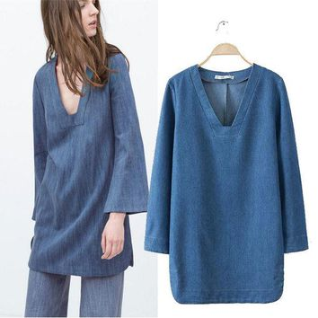 DCCKIX3 Stylish V-neck Long Sleeve Simple Denim Women's Fashion One Piece Dress [4918980612]