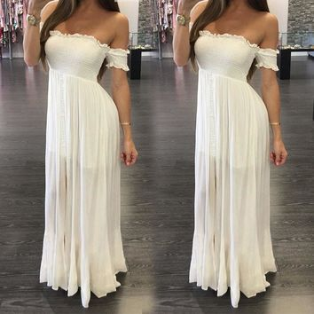 Boho Maxi Off Shoulder White Long Beach Sundress