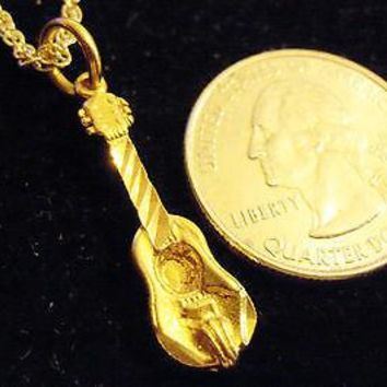 """bling gold plated guitar tune pick charm 24"""" rope chain hip hop necklace jewelry"""