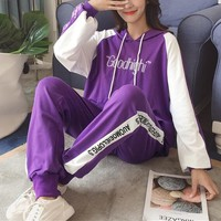 """Adidas"" Women Casual Fashion Multicolor Letter Long Sleeve Hoodie Trousers Set Two-Piece Sportswear"
