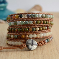 Natural gemstone wrap bracelet. Rustic beaded bohemian bracelet