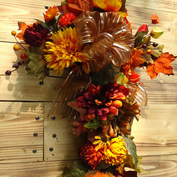 "Fall Silk Floral Memorial Cross - ""Autumn Remembrance"" Cemetery, Thanksgiving Memorial, Graveside Flowers, Honor Loved One, Waterproof, Fall"