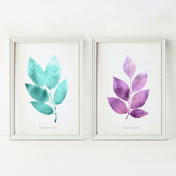 Printable wall art Set of prints, Bathroom wall decor, Purple teal home decorations, Nature prints Instant download Printable art 5x7 Leaves