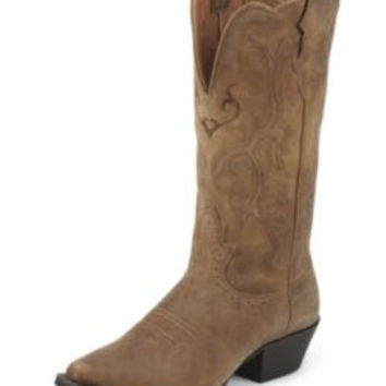 Justin Ladies Stampede Tan Cowhide Boots