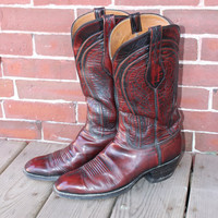 Mens LUCCHESE rare Oxblood Tooled leather cowboy boot sz 10