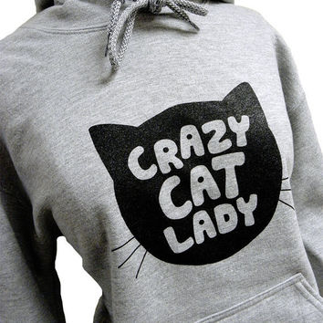 Crazy Cat Lady Hoodie CAT Silhouette Grey by theboldbanana