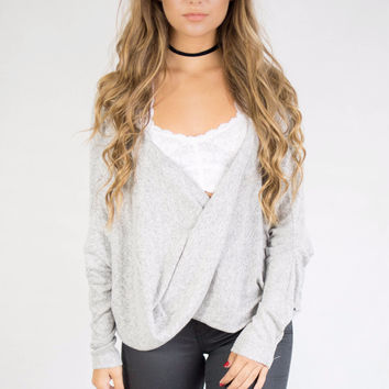 Mora Grey Hacci Knit Surplice Top