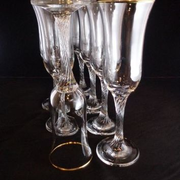 Champagne Flutes With Twisted Stems  S/20