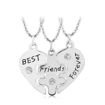 Lovers' Collier Bff Statement Necklace 3 pcs Best Friends Forever Necklaces Colar Friendship Heart Charm Pendent Gift for Girls+Christmas gifts