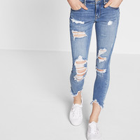 mid rise performance stretch distressed ankle jean legging