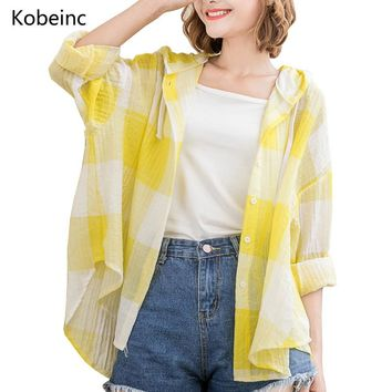 Kobeinc 2017 Oversize Hoodies Women Plaid Jacket Thin Casual Long Sleeves Sun Protection Outwear Button Irregular Ropa Mujer