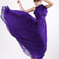 Tidal  purple chiffon long dress by xiaolizi on Etsy