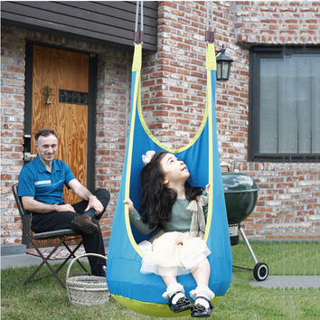 1 Pc Blue Baby Swing Children Inflatable Hammock Indoor Outdoor Hanging Swing Chair Child Pod Swing Free Shipping H1364Y1