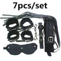 Adult Game 7Pieces kit Leather Fetish sex bondage Restraint Handcuff gag Queen Constume nipple clamps whip sex toy for couples = 1930136132