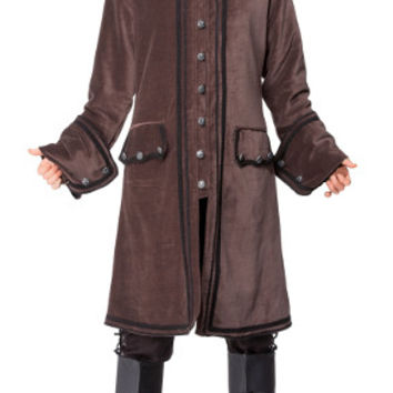 Gentlemens Brown Steampunk Overcoat. Mens Victorian Button Down Trench Coat