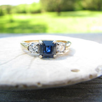 Classic Vintage 14K Gold Blue Sapphire and Diamond Ring - Square Cut Sapphire - Fiery Diamonds