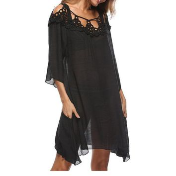 Cover ups Bikini Hollow Out Ladies Handmade Lace Splicing Beach  Solid Color Sundress Beach  Swimsuit Bathing Suits Coverups KO_13_1