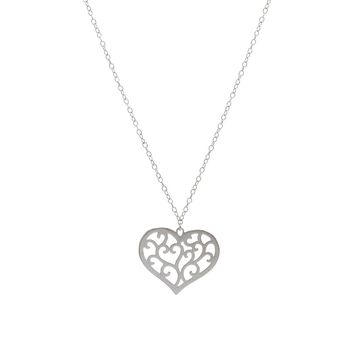 Sterling Silver Filigree Cut-Out Heart Necklace