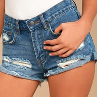 Billabong Just Me Medium Wash Distressed Denim Shorts