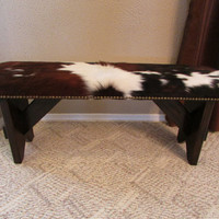 GENUINE COWHIDE BENCH 42 inch L x 11 inch W x 18 Inch H  with Quality Leather & Wood Stool Western Home Decor Listing # 337