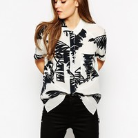 Whistles Oversized Shirt in Bamboo Print