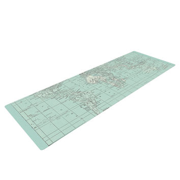 """Catherine Holcombe """"The Old World"""" Blue Teal Yoga Mat"""