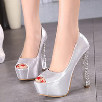 Waterproof High Heel Korean Princess Water Proof Peep Toe Shoes = 4814789828