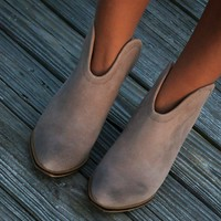 Chinese Laundry Wanderlust Gray Genuine Suede Open Back Bootie