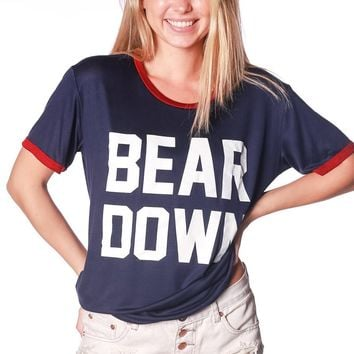 Official NCAA Venley University of Arizona Wildcats U of A Wilber Wildcat BEAR DOWN!  Relaxed Ringer Tee